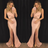 Modest Trumpet/Mermaid Prom Dress Straps Satin Chic Pink Formal Dress Evening Gowns AM290