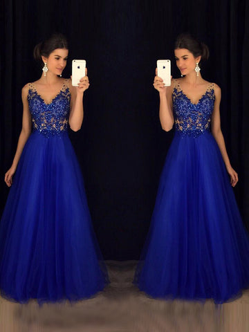 Chic A-line Prom Dress Royal Blue V-neck Beading Tulle Formal Dress Evening Gowns AM292