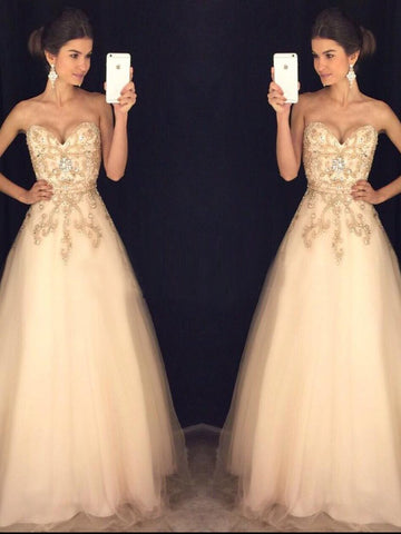 Chic A-line Prom Dress Sweetheart Beading Tulle Formal Dress Evening Gowns AM293