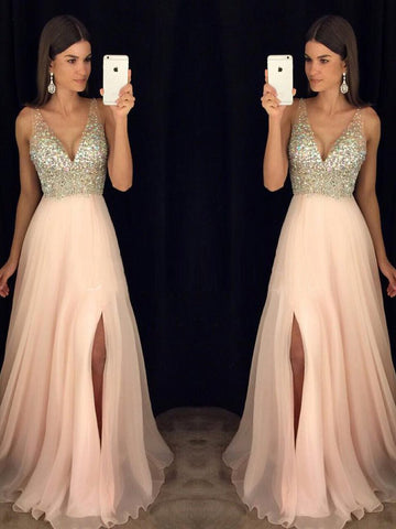 Chic A-line V-neck Floor Length Prom Dress Pink Tulle Formal Dress Evening Gowns AM295