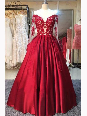 Chic A-line Off-the-shoulder Floor Length Prom Dress Burgundy Satin Formal Dress Evening Gowns AM297