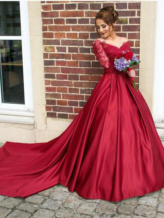 16a812fa935a Chic A-line Scoop Long Sleeve Lace Prom Dress Burgundy Satin Formal Dress  Evening Gowns