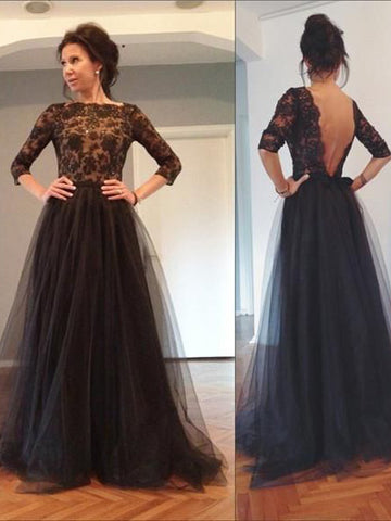 Modest A-line Bateau Half Sleeve Lace Prom Dress Black Tulle Formal Dress Evening Gowns AM302