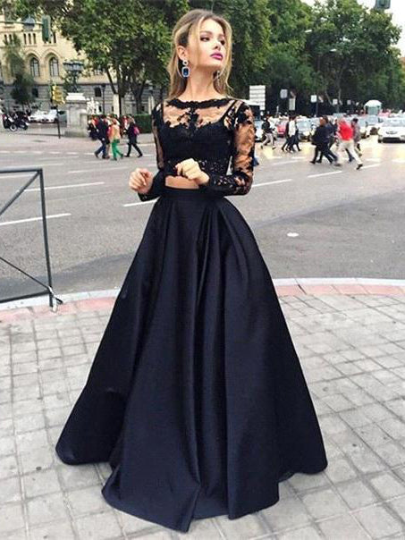 Charming A-line Two Pieces Scoop Long Sleeve Lace Prom Dress Black Tulle Evening Gowns AM310