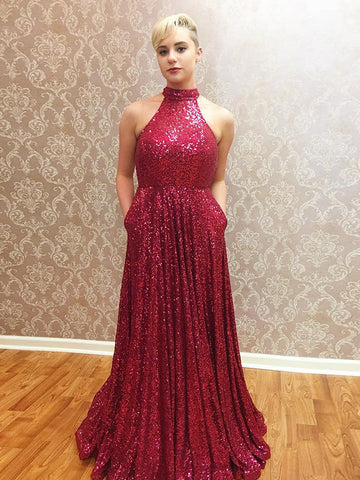 Charming A-line High Neck Burgundy Sleeveless Sequins Prom Dress Tulle Evening Gowns AM311