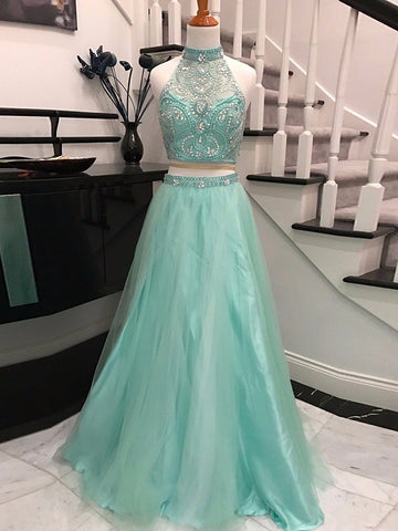 Chic A-line Two Pieces Prom Dress Green Halter Beading Tulle Long Prom Dress Evening Gowns AM313