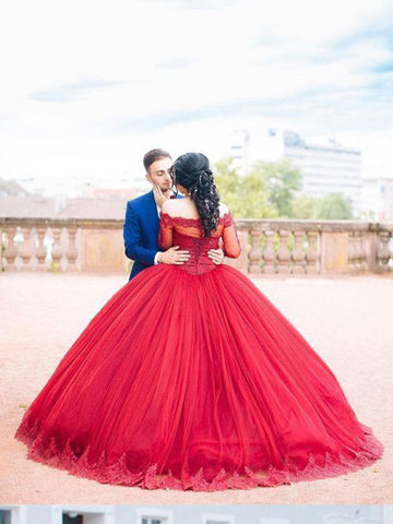 Chic A-line Ball Gowns Off-the-shoulder Burgundy Prom Dress Tulle Lace Wedding Dress AM316
