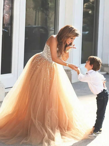 Chic A-line Ball Gowns Sweetheart Prom Dress Tulle Beading Evening Gowns AM317Chic A-line Ball Gowns Sweetheart Prom Dress Tulle Beading Evening Gowns AM317