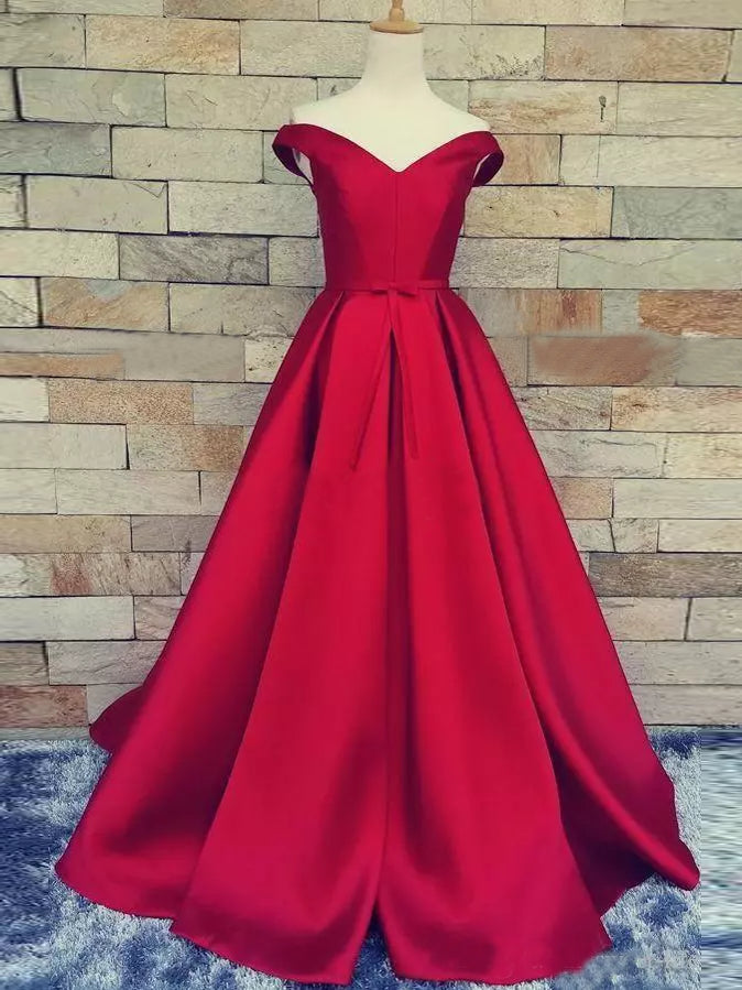 82dd212a8c99 Chic A-line Off-the-shoulder Red Prom Dress Simple Satin Prom Dress Ev –  AmyProm