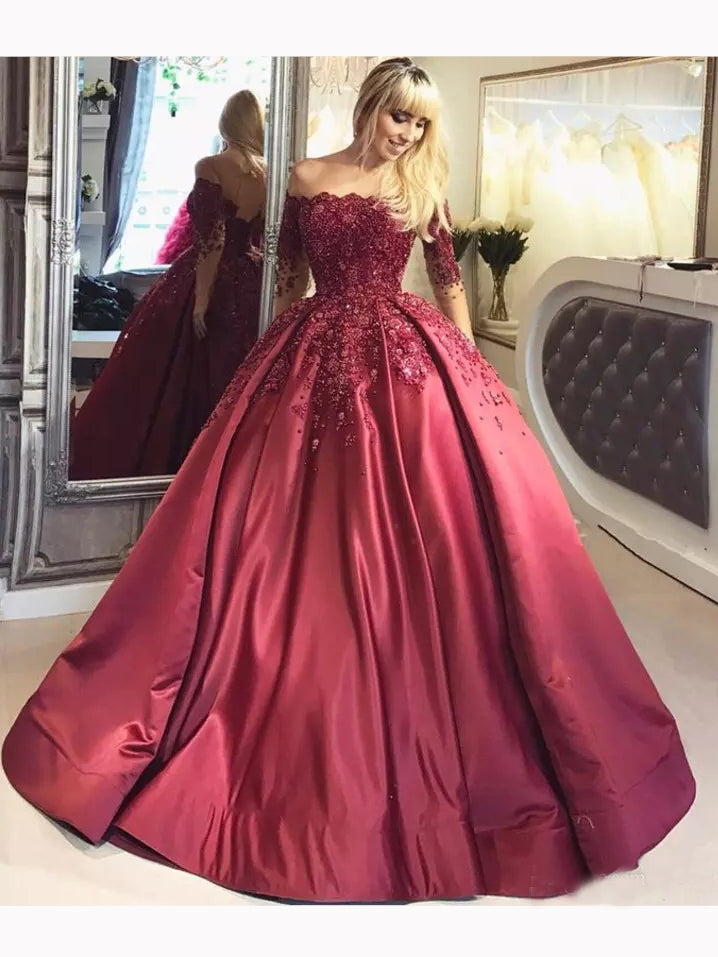 Chic Ball Gowns Burgundy Off-the-shoulder Half Sleeve Satin Chic Prom Dress Evening Gowns AM322