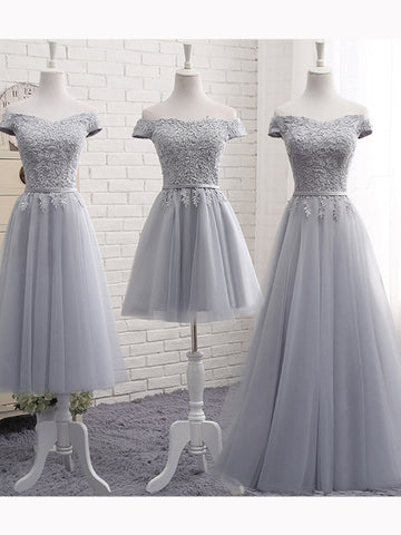 Chic A-line Off-the-shoulder Silver Applique Tulle Prom Dress Evening Dress AM323