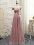 Simple A-line Off-the-shoulder Pink Ruffles Tulle Prom Dress Evening Dress AM324
