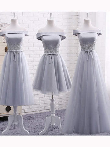 Simple A-line Off-the-shoulder Silver Applique Tulle Prom Dress Evening Dress AM325