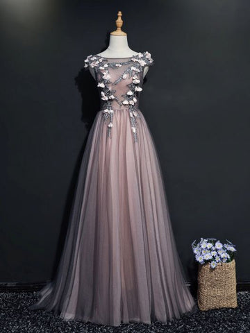 Simple A-line Scoop Floor Length Gray Pink Applique Tulle Prom Dress Evening Dress AM326