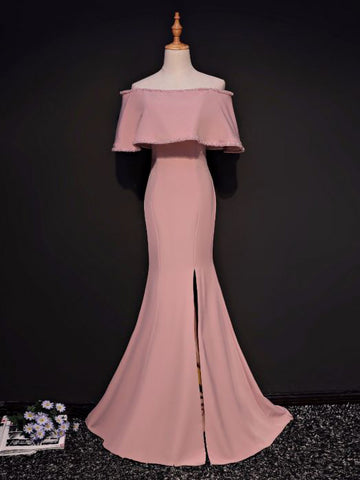 Simple Trumpet/Mermaid Off-the-shoulder Floor Length Pink Satin Prom Dress Evening Dress AM327