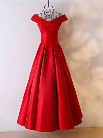 Chic A-line Off-the-shoulder Floor Length Red Satin Ruffles Prom Dress Evening Dress AM329