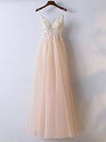 Modest A-line Spaghetti Straps Floor Length Tulle Applique Prom Dress Evening Dress AM331