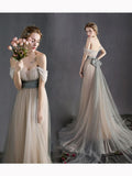 Simple A-line Off-the-shoulder Floor Length Tulle Ruffles Silver Prom Dress Evening Dress AM332