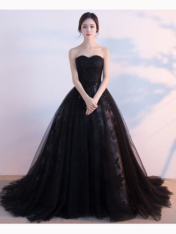 Chic A-line Ball Gown Sweetheart Sweep/Brush Train Tulle Black Prom Dress Evening Dress AM333