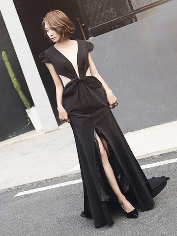 Chic Sheath/Column Deep V-neck Black Short Sleeve Bowknot Satin Prom Dress Evening Dress AM334