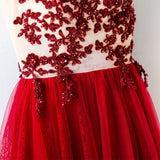 Chic A-line Scoop Burgundy Sleeveless Rhinestone Tulle Prom Dress Evening Dress AM335