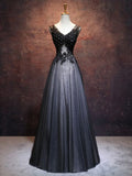 Chic A-line V-neck Floor Length Tulle Black Applique Long Prom Dress Evening Dress AM336