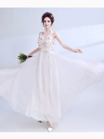 Chic A-line Scoop Floor Length Tulle Ivory Applique Long Prom Dress Evening Dress AM338