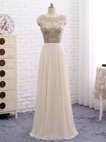 Chic A-line Scoop Floor Length Chiffon Beading Long Prom Dress Evening Dress AM339