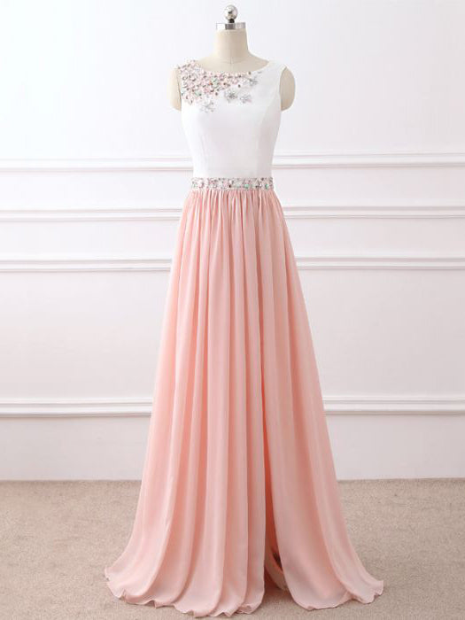 Chic A-line Scoop Floor Length Chiffon Pink Beading Long Prom Dress Evening Dress AM340