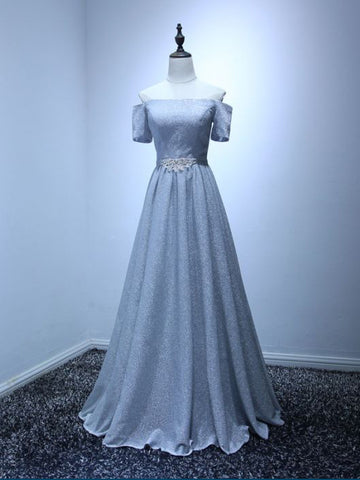 Modest A-line Off-the-shoulder Floor Length Tulle Silver Long Prom Dress Evening Dress AM341