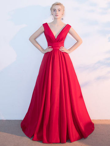 Simple Cheap A-line V-neck Floor Length Satin Red Long Prom Dress Evening Dress AM342
