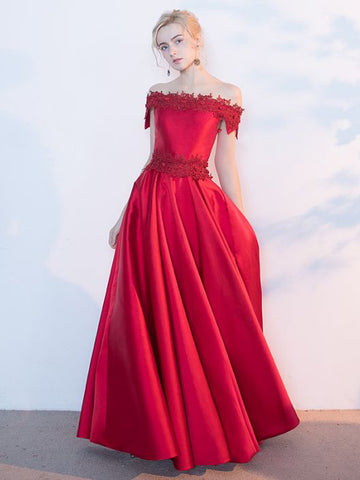 Chic Red A-line Off-the-shoulder Floor Length Satin Applique Long Prom Dress Evening Dress AM343