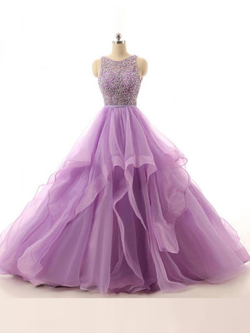 Chic A-line Scoop Organza Lilac Floor Length Rhinestone Long Prom Dress Evening Dress AM344