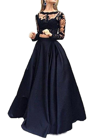 Chic A-line Two Pieces Scoop Satin Long Sleeve Black Long Prom Dress Evening Dress AM345