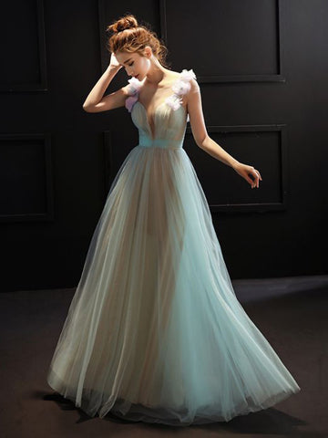 Sexy A-line Scoop Tulle Hand Made Floor Blue Long Prom Dress Evening Dress AM346