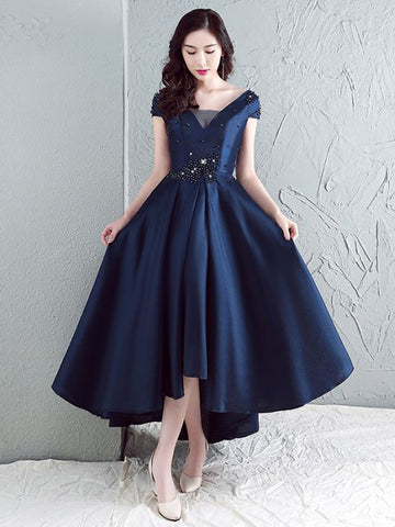 Chic A-line Asymmetrical Short Sleeve Satin Beading Dark Navy Long Prom Dress Evening Dress AM347