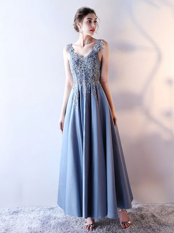 Chic A-line V-Neck Satin Applique Blue Ankle-length Prom Dress Evening Dress AM348