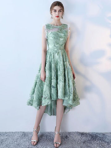 Chic A-line Asymmetrical Scoop Green Applique Tulle Short Prom Dress Homecoming Dress AM349