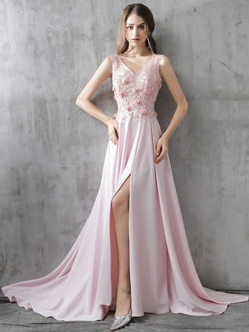 Chic A-line V-neck Chiffon Pink Applique Lace Modest Prom Dress Evening Dress AM351