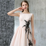 Chic A-line Tulle Bateau Pearl Pink Applique Modest Prom Dress Evening Dress AM352
