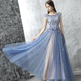 Chic A-line Tulle Scoop  Blue Applique Modest Prom Dress Evening Dress AM353