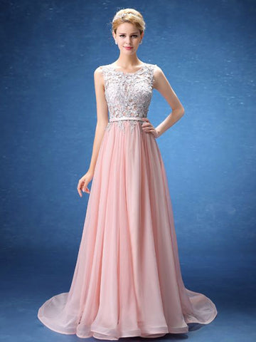 Chic A-line Scoop Pink Chiffon Applique Modest Prom Dress Evening Dress AM354