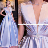 Chic A-line Deep V-neck Lavender Satin Beading Modest Prom Dress Evening Dress AM356