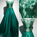 Chic A-line Scoop Hunter Satin Applique Lace Modest Prom Dress Evening Dress AM357
