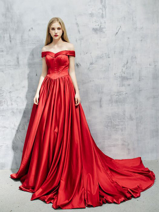Chic A-line Off-the-shoulder Red Satin Simple Modest Prom Dress Evening Dress AM358