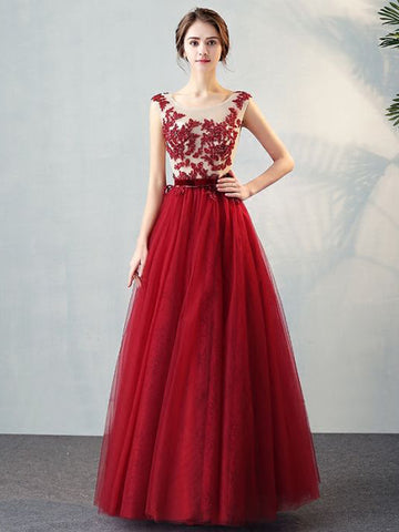 Chic A-line Scoop Burgundy Tulle Applique Modest Prom Dress Evening Dress AM359
