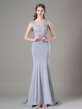Chic Trumpet/Mermaid Silver Scoop Chiffon Lace Modest Prom Dress Evening Dress AM360