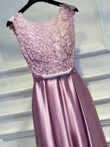 Chic A-line Scoop Pink Elastic Woven Satin Lace Modest Prom Dress Evening Dress AM362