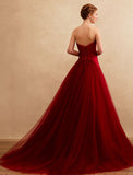 Chic A-line Strapless Burgundy Simple Tulle Modest Prom Dress Evening Gowns AM369