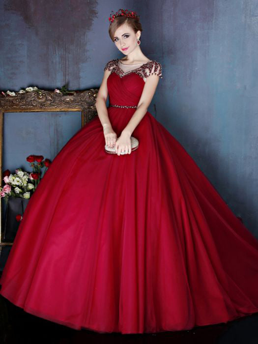 Chic A-line Ball Gowns Burgundy Beading Tulle Modest Prom Dress Evening Gowns AM370